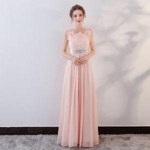 Elegant Pearl Pink Evening Dresses  2018 Empire Lace Appliques Crystal Sash Scoop Neck Backless Sleeveless Floor-Length / Long Formal Dresses