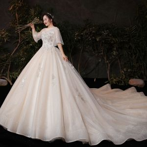 Victorian Style Champagne Plus Size Wedding Dresses 2020 Ball Gown See-through Scoop Neck Puffy 1/2 Sleeves Backless Appliques Lace Beading Glitter Tulle Cathedral Train Ruffle