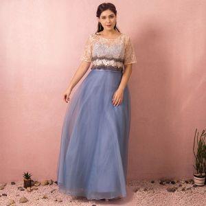 Chic / Belle Bleu Ciel Grande Taille Robe De Soirée 2018 Princesse U-Cou Tulle Appliques Dos Nu Perlage Soirée Robe De Bal
