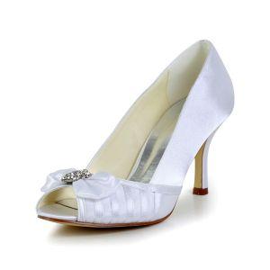 Klasyczne Białe Buty Ślubne Peep Toe Satynowe Szpilki Czółenka