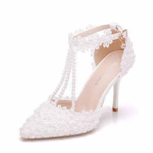 Charming White Wedding Shoes 2018 Rhinestone Ankle Strap Lace Pearl Tassel 9 cm Stiletto Heels Pointed Toe Wedding High Heels