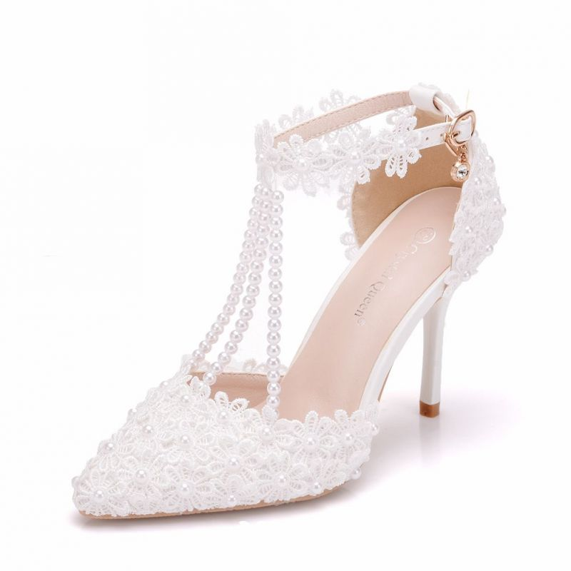 12657659a7 Charming White Wedding Shoes 2018 Rhinestone Ankle Strap Lace Pearl ...