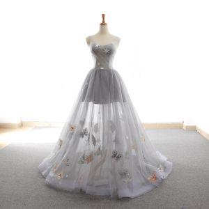 Chic / Belle Gris Robe De Bal 2018 Princesse Étoile Papillon V-Cou Dos Nu Sans Manches Train De Balayage Robe De Ceremonie