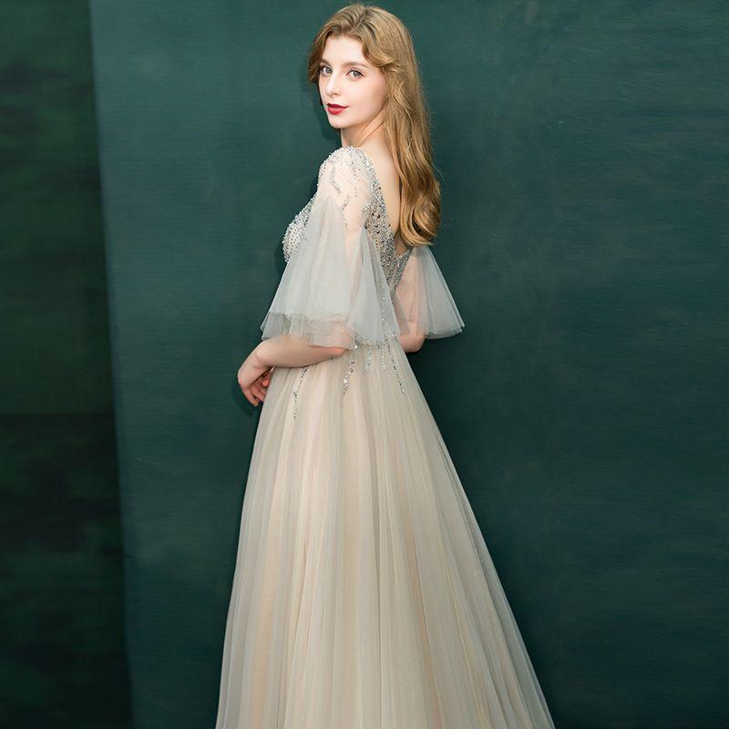 Luxe Champagne Transparentes Robe De Soirée 2019 Princesse V-Cou Manches de cloche Perlage Train De Balayage Volants Dos Nu Robe De Ceremonie