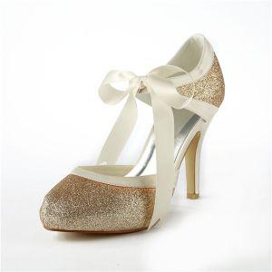 Sprankelende Champagne Bruidsschoenen Glitter Stiletto Sandalen Met Lint Stropdas
