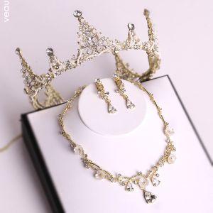 Piękne Złote Tiara Naszyjnik Kolczyki Biżuteria Ślubna 2019 Metal Frezowanie Kryształ Rhinestone Ślub Akcesoria
