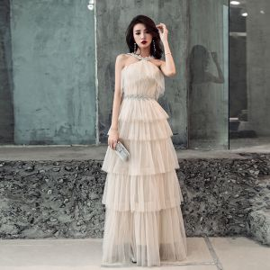 Chic / Beautiful Champagne Evening Dresses  2019 A-Line / Princess Sleeveless Rhinestone Sash Floor-Length / Long Cascading Ruffles Backless Formal Dresses