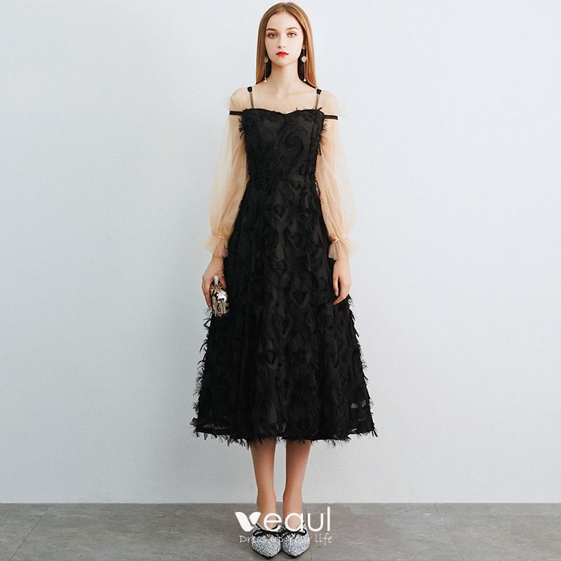Chic / Beautiful Ivory Homecoming Graduation Dresses 2019 A-Line / Princess Off-The-Shoulder Spaghetti Straps Puffy Long Sleeve Appliques Lace Tea-length Backless Formal Dresses