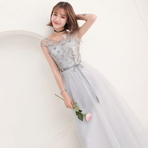 Affordable Grey Bridesmaid Dresses 2018 A-Line / Princess Lace Bow Backless Ankle Length Wedding Party Dresses