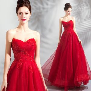 Charming Red Prom Dresses 2018 A-Line / Princess Beading Crystal Sequins Lace Flower Strapless Backless Sleeveless Floor-Length / Long Formal Dresses