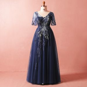 Modest / Simple Navy Blue Plus Size Evening Dresses  2018 Summer V-Neck 1/2 Sleeves A-Line / Princess Tulle Lace Crossed Straps Appliques Backless Beading Evening Party Formal Dresses