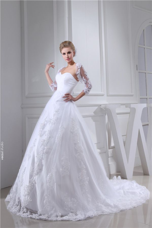 Charming Wedding Dress White Sweetheart Neckline Bridal Ball Gown With Sequins Lace