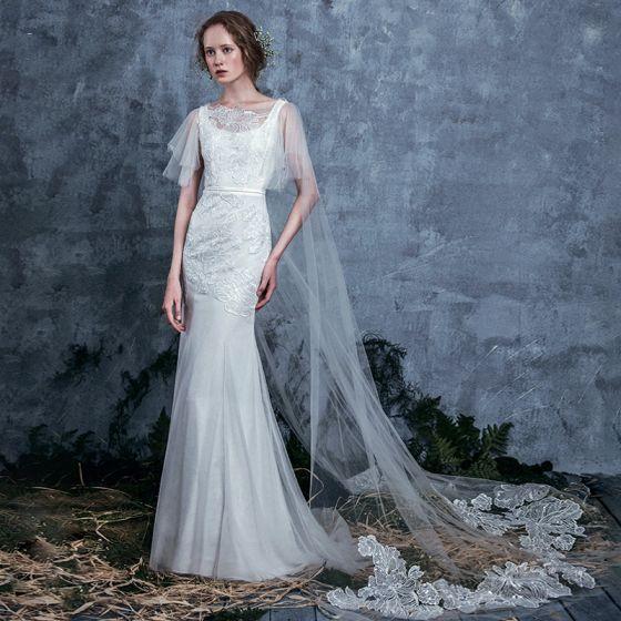 Elegant Ivory See Through Summer Wedding Dresses 2018 Trumpet