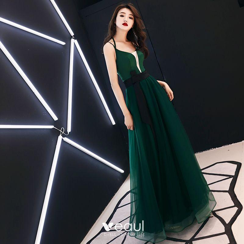 Sexy Jade Green Evening Dresses  2019 A-Line / Princess V-Neck Spaghetti Straps Sleeveless Bow Sash Floor-Length / Long Ruffle Backless Formal Dresses