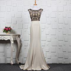Luxury / Gorgeous Khaki Handmade  Beading Evening Dresses  2019 Trumpet / Mermaid Crystal Rhinestone Scoop Neck Sleeveless Backless Sweep Train Formal Dresses