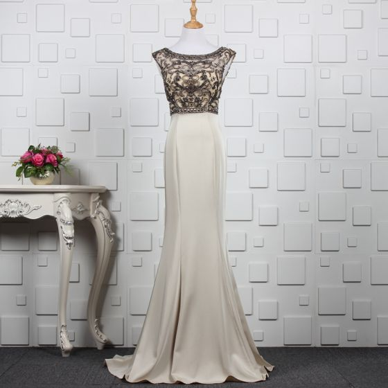 Luxury / Gorgeous Khaki Handmade  Beading Evening Dresses  2019 Trumpet / Mermaid Crystal Rhinestone Scoop Neck Sleeveless Backless Sweep Train Formal Dresses