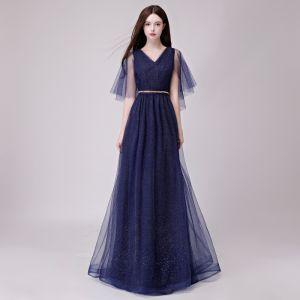 Chic / Beautiful Navy Blue Evening Dresses  2018 A-Line / Princess Glitter Metal Sash V-Neck Backless 1/2 Sleeves Floor-Length / Long Formal Dresses