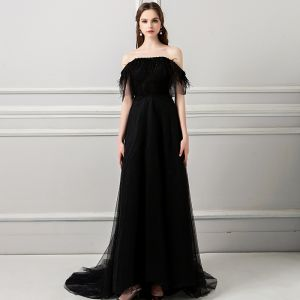 Amazing / Unique Black Evening Dresses  2018 A-Line / Princess Tassel Pearl Off-The-Shoulder Backless Short Sleeve Sweep Train Formal Dresses
