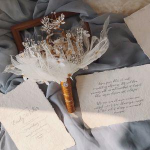 Chic / Beautiful White Champagne Wedding Flowers 2020 Metal Braid Appliques Beading Rhinestone Handmade  Wedding Accessories