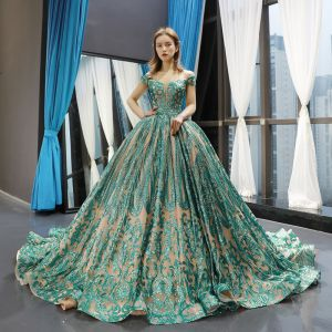 Luxury / Gorgeous Champagne Jade Green Prom Dresses 2020 Ball Gown Off-The-Shoulder Short Sleeve Appliques Sequins Court Train Ruffle Backless Formal Dresses