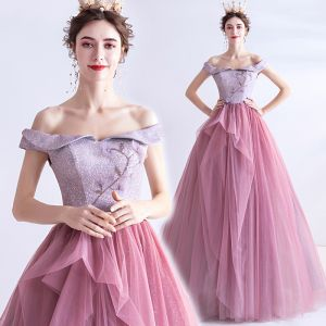 Charming Candy Pink Prom Dresses 2020 A-Line / Princess Off-The-Shoulder Beading Rhinestone Sequins Sleeveless Backless Floor-Length / Long Formal Dresses