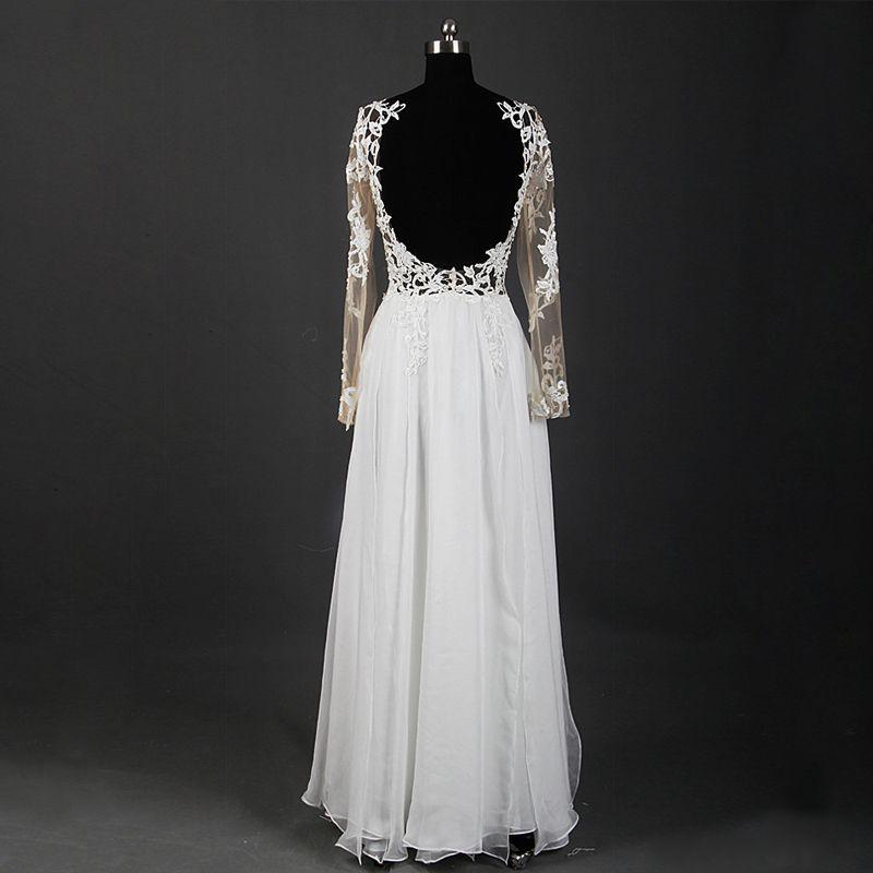 Klassisch Elegante Ivory / Creme Lange Hochzeit 2018 A Linie U-Ausschnitt Tülle Schnüren Applikationen Rückenfreies Durchbohrt Durchsichtige Brautkleider