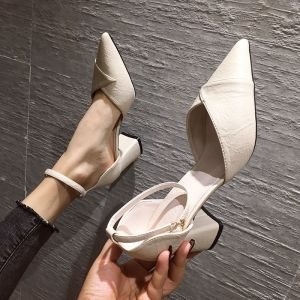 Chic / Beautiful Beige Casual Summer Womens Sandals 2020 Ankle Strap 6 cm Thick Heels Pointed Toe Sandals