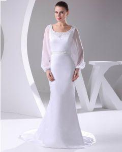 Elegant Satin Dentelle Mousseline De Soie Perles Cou Etage Longueur Robe De Mariée Robe De Mariage