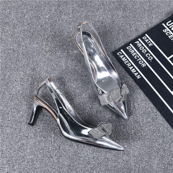 Mote Sølv Aften Damesko Lær 2019 Ankelstropp Rhinestone Sløyfe 6 cm Stiletthæler Spisse Høyhælte