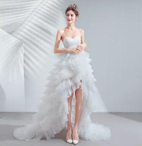 Chic / Beautiful White Wedding Dresses 2020 A-Line / Princess Strapless Sleeveless Backless Cascading Ruffles Court Train