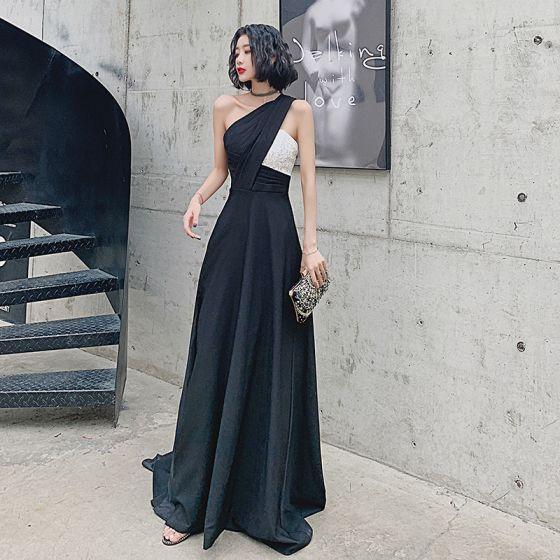 Moda Czarne Sukienki Wieczorowe 2021 Princessa Jedno Ramię Bez Rękawów Cekiny Podział Przodu Trenem Sweep Bez Pleców Sukienki Wizytowe