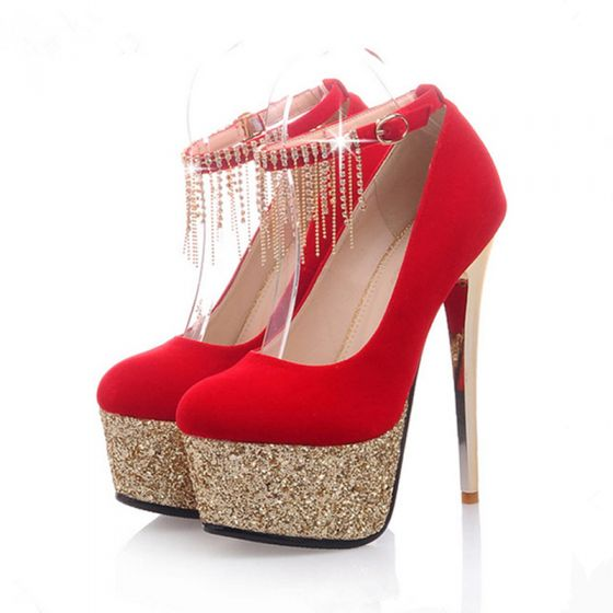 Chic / Beautiful Prom Pumps 2017 Polyester Suede High Heels Platform High Heel Pumps Pointed Toe