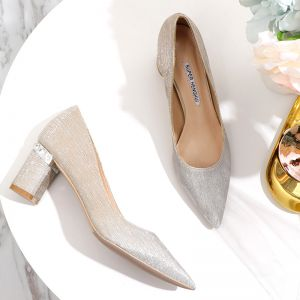 Bling Bling Gradient-Color Gold Wedding Shoes 2020 Glitter Sequins 6 cm Thick Heels Pointed Toe Wedding Pumps