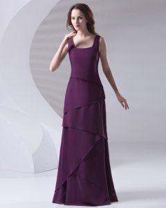 Bretelles Plisse Etage Longueur Mere En Mousseline De Soie De La Robe De Mariée