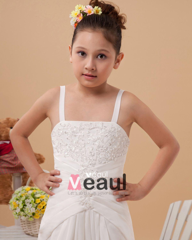 Satin Embroidery Shoulder Straps Floor Length Flower Girl Dress