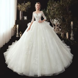 Chic / Beautiful Ivory See-through Wedding Dresses 2020 Ball Gown Scoop Neck 3/4 Sleeve Appliques Lace Pearl Chapel Train Ruffle Backless