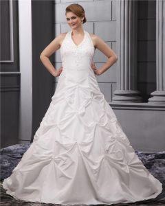 Perles Halter Tribunal Taffetas Plus La Taille Robe De Mariage Nuptiale Robe