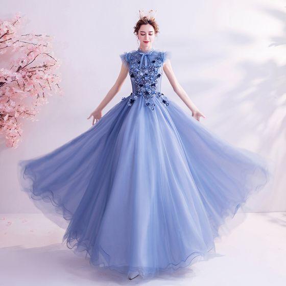 Vintage / Retro Ocean Blue Prom Dresses 2020 A-Line / Princess High Neck Bow Lace Flower Appliques Sleeveless Backless Floor-Length / Long Formal Dresses