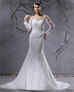 Elegant Satin Tulle Applique Beaded V Neck Floor Length Court Train Empire Wedding Dress
