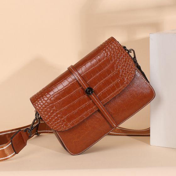 Mode Braun Quadratische Schultertaschen Umhängetasche Umhängetaschen 2021 Krokodilmuster Leder Freizeit Damentaschen