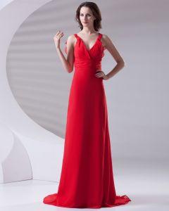 Slim Rüschen Design V-ausschnitt Bodenlangen Brautjungfernkleider