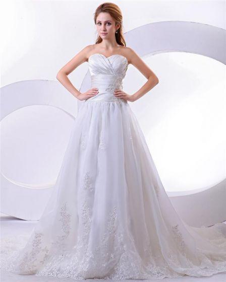 Satin Elegant Bodenlange Liebsten Stickerei A-linie Hochzeitskleid