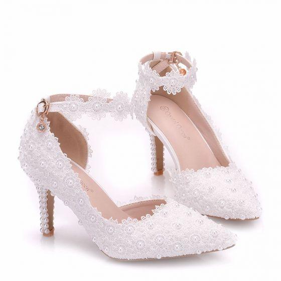 97f633d4e Hermoso Blanco Zapatos de novia 2018 Con Encaje Flor Perla 8 cm Stilettos    Tacones De Aguja Punta Estrecha Boda ...