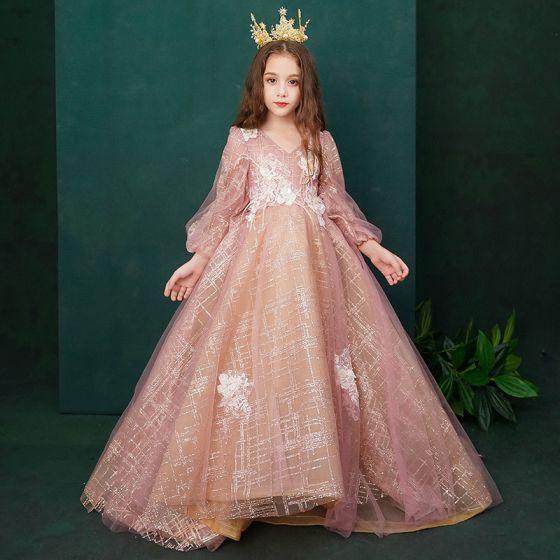 Estilo Victoriano Perla Rosada Cumpleaños Vestidos para niñas 2020 Princesa V-Cuello Hinchado Manga Larga Sin Espalda Apliques Con Encaje Rebordear Glitter Tul Pluma Colas De Barrido Ruffle