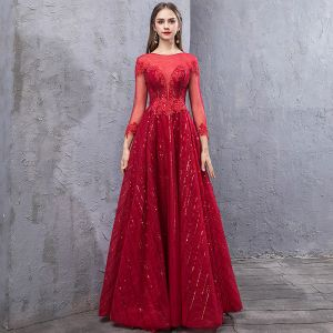 Chic / Beautiful Burgundy Evening Dresses  2019 A-Line / Princess Scoop Neck Handmade  Beading Crystal Sequins Backless Long Sleeve Floor-Length / Long Formal Dresses