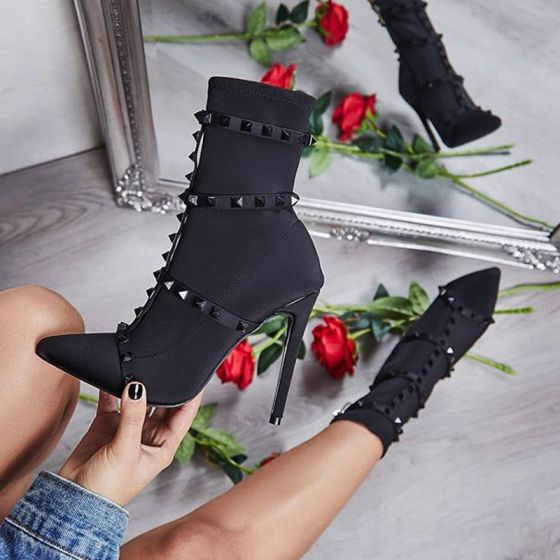 Rimelig Svart Casual Kvinners støvler 2020 Klinke 11 cm Stiletthæler Spisse Boots