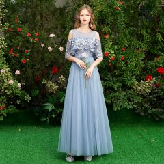 Discount Sky Blue Bridesmaid Dresses 2019 A-Line / Princess Sash Appliques Lace Floor-Length / Long Ruffle Backless Wedding Party Dresses