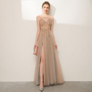 Charming Champagne Prom Dresses 2020 A-Line / Princess Spaghetti Straps Beading Rhinestone Sleeveless Backless Split Front Floor-Length / Long Formal Dresses