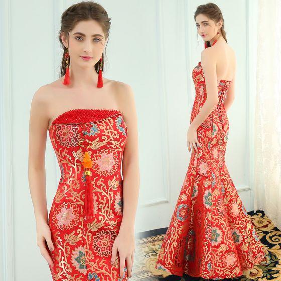 Chinesischer Stil Rot Abendkleider 2019 Meerjungfrau Bandeau Kristall Ärmellos Rückenfreies Drucken Lange Festliche Kleider