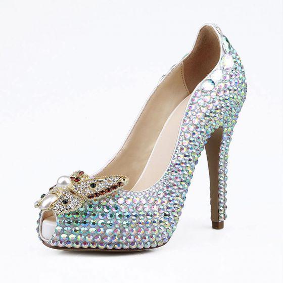 Glitter Multi-Kleuren Rhinestone Bruidsschoenen 2020 Leer Parel 12 cm Naaldhakken / Stiletto Peep Toe Huwelijk Pumps